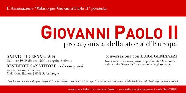 """11.01.2014: """"Giovanni Paolo II protagonista della storia d'Europa"""""""